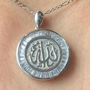 "Jewelry - Sterling Silver Pendent ""Allah"" with Zircon Stones"